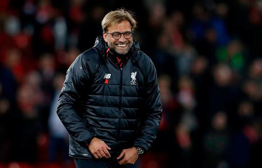 Liverpool manager Jurgen Klopp celebrates after the game
