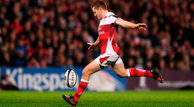 Paddy Jackson of Ulster kicks a drop goal in the 78th minute during the European Rugby Champions Cup Pool 5 Round 2 match between Ulster and Exeter Chiefs at the Kingspan Stadium in Belfast. Photo by Ramsey Cardy/Sportsfile
