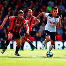 Spurs' Erik Lamela makes a charge as defenders close in. Photo: Getty