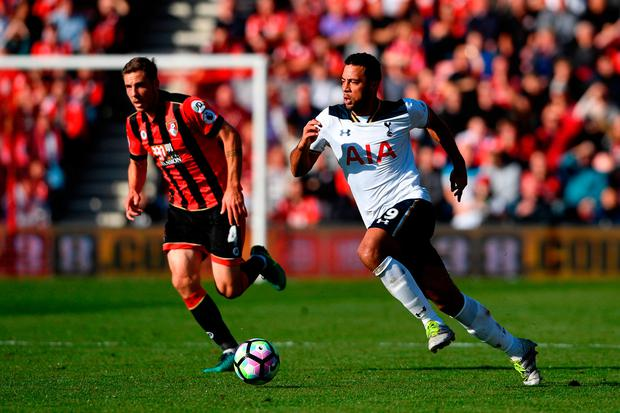 Spurs' Mousa Dembele (R) in action. Photo: Getty