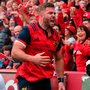 Munster 's Jaco Taute celebrates scoring a try during the match at Thomond Park. Photo: Lorraine O'Sullivan/PA