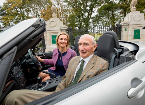 Return journey: Gemma and her dad Aodan (80) arrive at Ballyfin Demesne, Co Laois, voted the world's best hotel by Conde Nast Photo: Dylan Vaughan