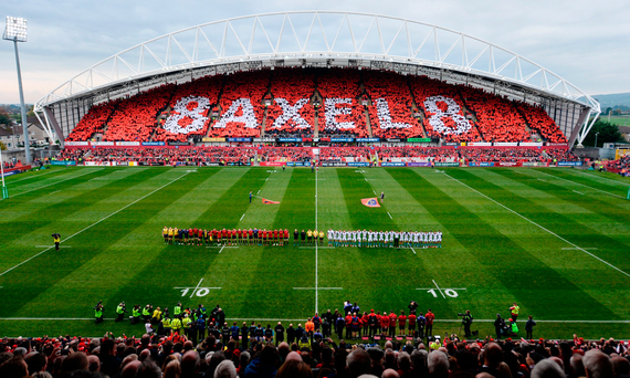 Munster and Glasgow Warriors players observe a minutes silence in memory of the late Anthony Foley Photo: Diarmuid Greene/Sportsfile