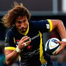 Clermont's French flanker Camille Girondeau runs with the ball during the European Rugby Champions Cup rugby match against Bordeaux Begles. Photo: Thierry Zoccolan/Getty Images