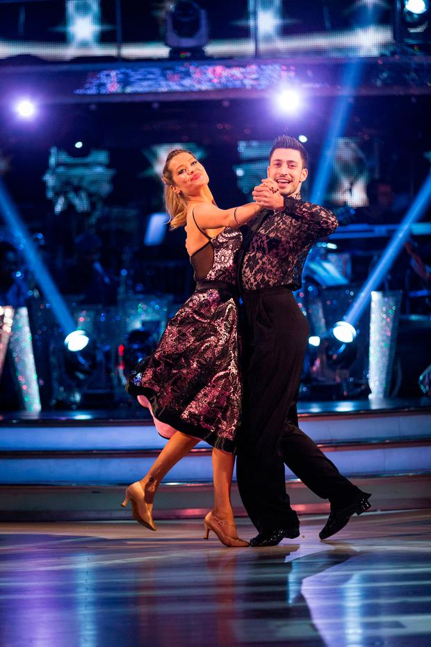 Laura Whitmore with dance partner Giovanni Pernice during a dress rehearsal for the BBC1 show, Strictly Come Dancing.