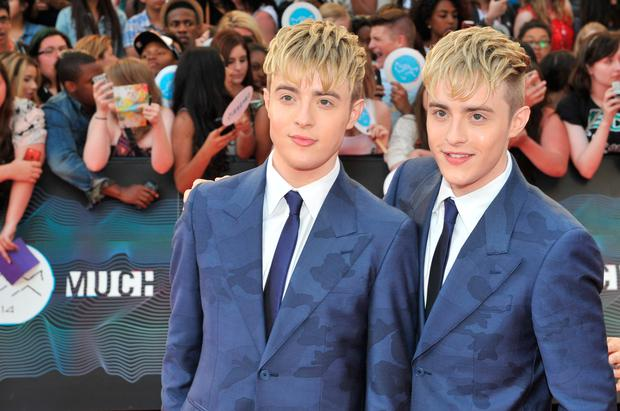 John and Edward Grimes of Jedward arrive at the 2014 MuchMusic Video Awards at MuchMusic HQ on June 15, 2014 in Toronto, Canada. (Photo by Sonia Recchia/Getty Images)