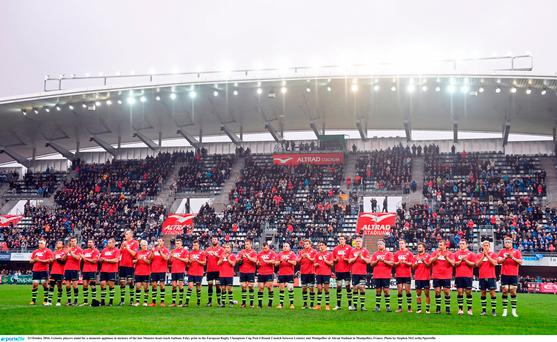 23 October 2016; Leinster players stand for a moments applause in memory of the late Munster head coach Anthony Foley prior to the European Rugby Champions Cup Pool 4 Round 2 match between Leinster and Montpellier at Altrad Stadium in Montpellier, France. Photo by Stephen McCarthy/Sportsfile