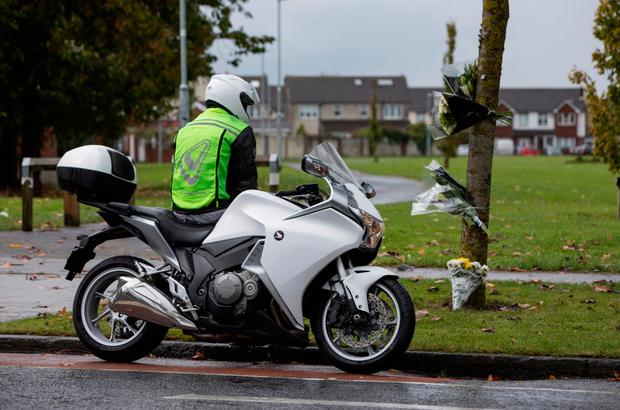 A biker at the scene where a fatal RTC that occurred yesterday evening, Picture by Fergal Phillips