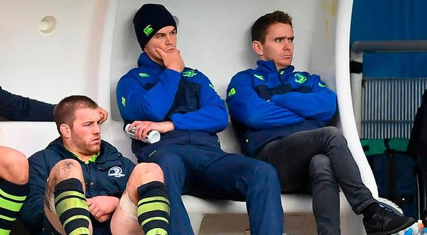 Leinster players Sean O'Brien, Jonathan Sexton and Eoin Reddan watch on during the European Rugby Champions Cup Pool 4 Round 2 match between Leinster and Montpellier at Altrad Stadium in Montpellier, France. Photo by Stephen McCarthy/Sportsfile
