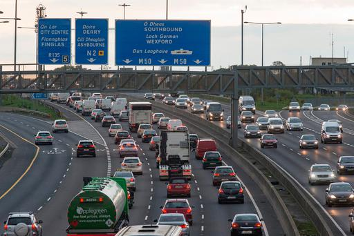 Almost 159,000 vehicles are using Dublin's M50 on a daily basis – up 6,300 on the same period of last year. Photo: Arthur Carron