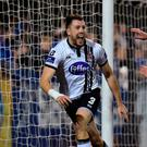 Brian Gartland of Dundalk celebrates after scoring his side's second goal during the SSE Airtricity League Premier Division game between Dundalk and Bohemians at Oriel Park in Dundalk. Photo by Paul Mohan/Sportsfile