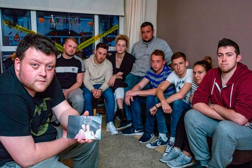 Brian Hyland (left), brother of Stephen Hyland, Clonee, who was killed in a road traffic accident over the weekend pictured with Stephen's friends: Robert O'Hanlon, Aaron Fitzpatrick, Maria Giurgila, Ben Mockdad, Kev Byrne, Darren Gleeson, Karolina Wymyskow and Jonathan Hughes. Photo: Arthur Carron