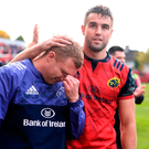 Conor Murray offers a comforting hand to Keith Earls, who was sent off during Saturday's game for a tip tackle DIARMUID GREENE/SPORTSFILE