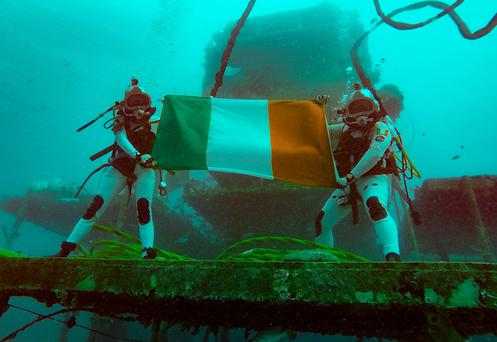 Marc O Griofa (right) underwater with a Nasa colleague during his time living under the sea with six colleagues.