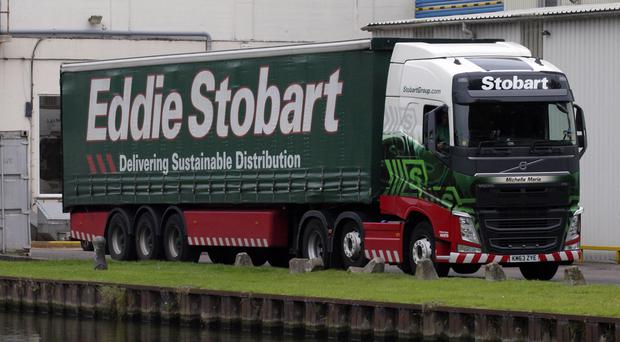 Eddie Stobart truck beside the Gloucester and Sharpness Canal, UK. Photo By: Education Images/UIG via Getty Images