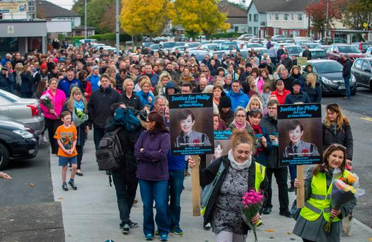 Hundreds of people turned out for the 30th anniversary march for Philip Cairns yesterday in Rathfarnham. Photo: Doug O'Connor