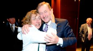 Taoiseach Enda Kenny meets Carol Balinsky from Montreal, Canada, as he arrives at the Fine Gael dinner at the Double Tree Hotel, Dublin. Photo: Justin Farrelly
