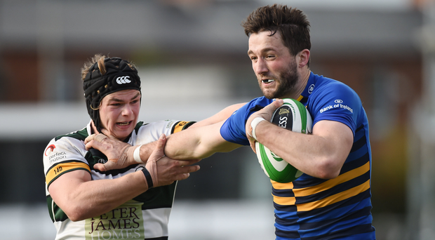 Barry Daly of Leinster A is tackled by Charlie Thacker of Nottingham Rugby Photo by Matt Browne/Sportsfile