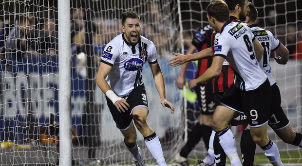 Brian Gartland celebrates after scoring his side's second goal Photo by Paul Mohan/Sportsfile