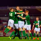 Aaron Drinan (9) celebrates with team-mates after scoring Cork City's first goal in their UEFA Youth League win over HJK Helsinki at Turner's Cross last week Photo by Eóin Noonan/Sportsfile