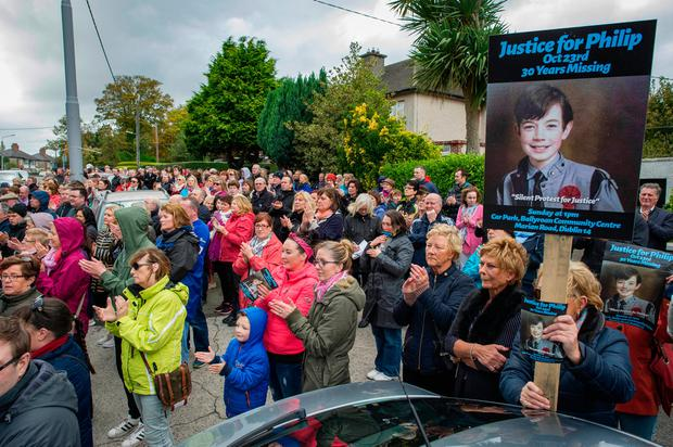 Some of the hundreds of people who took part in the march to mark the 30th anniversary of Philip's disappearance