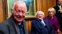 President Michael D Higgins and his wife Sabina attend Brendan Kennelly's 80th birthday celebrations at the Abbey Theatre in Dublin. Photo: Douglas O'Connor