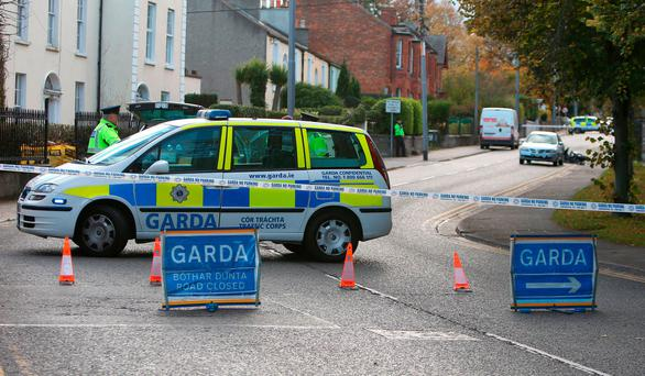 The accident scene in Dun Laoghaire Credit: Damien Eagers