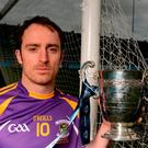 Dublin and Kilmacud Crokes forward Ryan O'Dwyer with the silverware up for grabs in Saturday's Dublin SHC final. Photo: Piaras Ó Mídheach/Sportsfile