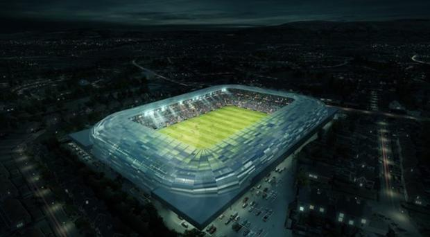 An artist's impression of the redeveloped Casement Park, which will see its capacity reduced to 34,500