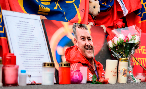 A photo of Anthony Foley sits among tributes outside the stadium in Limerick. Photo: Sportsfile