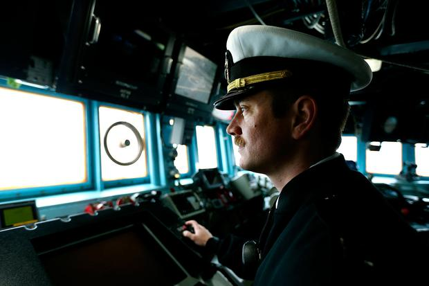 Executive Officer John Tobin on board the USS Porter during its visit to Cobh, Co Cork Photo: Gerry Mooney