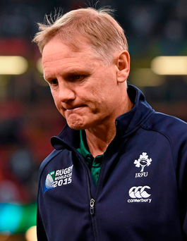 Joe Schmidt shows his disappointment after Ireland's World Cup defeat to Argentina last year Photo: Brendan Moran / SPORTSFILE