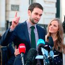 Colin, Karen, Daniel and Amy McArthur of Ashers Baking Company speaking to the media outside Belfast High Court yesterday. Photo: PA