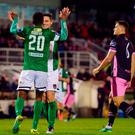 Gavin Holohan of Cork City celebrates with teammate Chiedozie Ogbene after scoring his side's fifth goal during the SSE Airtricity League Premier Division match between Cork City and Wexford Youths at Turners Cross in Cork. Photo by Eóin Noonan/Sportsfile