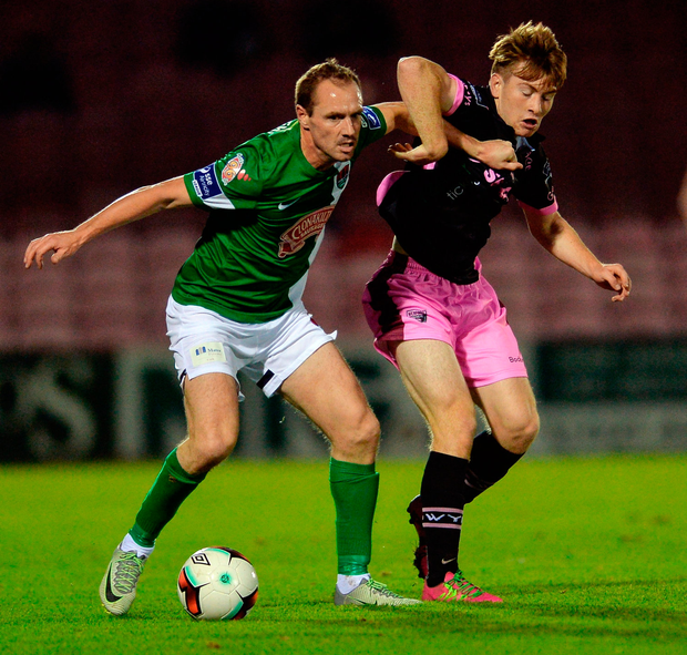 Cork City's Colin Healy in action Vincent Quinlin of Wexford Youths Photo: Eóin Noonan/Sportsfile