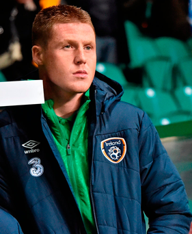 James McCarthy leans on the dugout on Ireland duty Photo: David Maher / SPORTSFILE