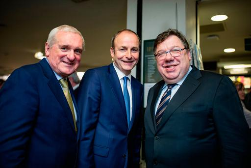Fianna Fáil leader Micheál Martin with former Taoisigh Bertie Ahern and Brian Cowen. Photo: Arthur Carron