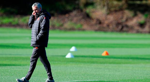 Manchester United manager Jose Mourinho during the training session at the AON Training Complex, Carrington. PRESS ASSOCIATION Photo. Picture date: Wednesday October 19, 2016. See PA story SOCCER Man Utd. Photo credit should read: Martin Rickett/PA Wire