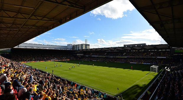 WATFORD, ENGLAND - OCTOBER 01: General view inside the stadium during the Premier League match between Watford and AFC Bournemouth at Vicarage Road on October 1, 2016 in Watford, England. (Photo by Dan Mullan/Getty Images)