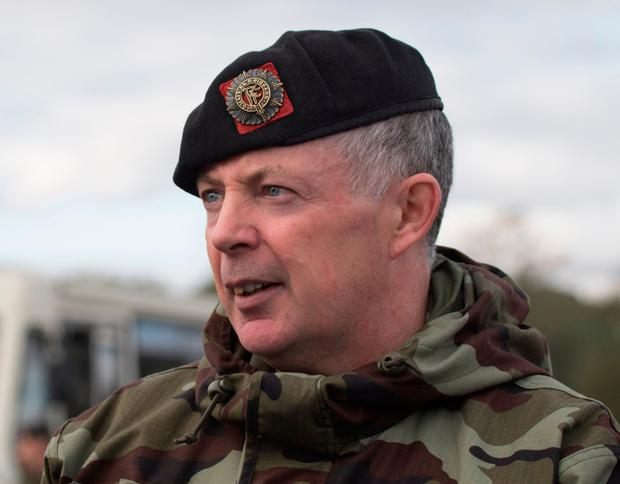 109th Bn Contigent Commander Lt Col Stephen Howard at the parade in Donegal Town prior to their departure for Lebanon. (North West Newspix)