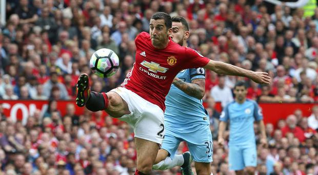 Henrikh Mkhitaryan in action for United