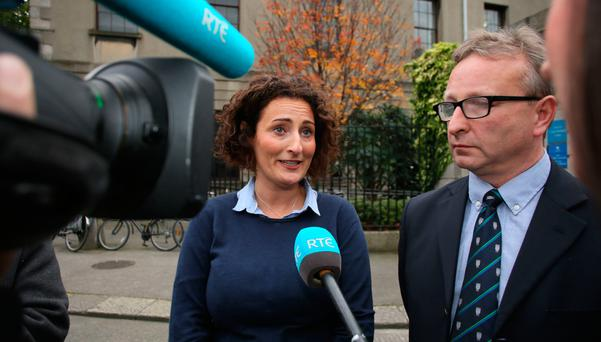 Jacinta Collins and Justin Hegarty, parents of Jack Hegarty pictured speaking to the media outside the Four Courts after the High Court approved a €1.7m interim settlement on behalf of Jack.Pic: Collins Courts
