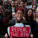Ailbhe Smyth, of the Coalition to Repeal the Eighth Amendment, during a rally outside Leinster House. Photo: Collins