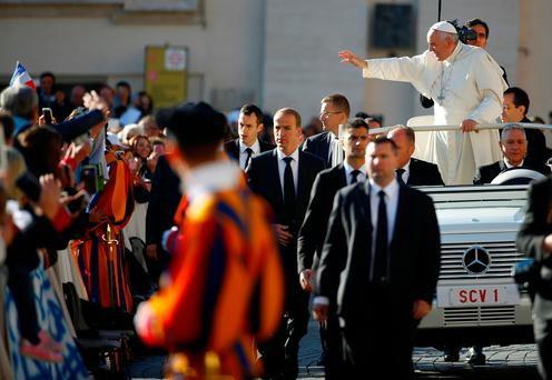 Pope Francis arrives to lead a special Jubilee audience in Saint Peter's square. REUTERS/Tony Gentile