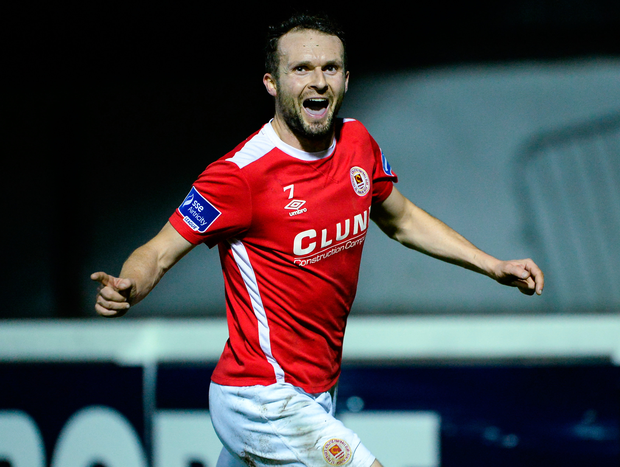 Conan Byrne of St Patrick's Athletic celebrates after scoring his side's third goal during the SSE Airtricity League Premier Division match between St Patrick's Athletic and Dundalk at Richmond Park in Dublin. Photo by Seb Daly/Sportsfile