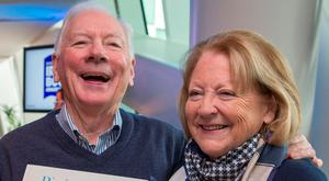 Gay Byrne with Kathleen Watkins, who wrote children's book 'Pigín of Howth' Photo: Colin O'Riordan