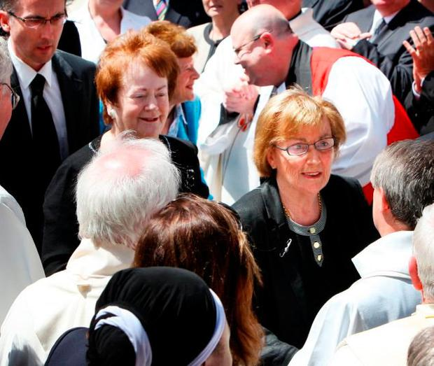 Mrs Lenihan greets mourners at the funeral of Brian Lenihan Jnr in 2011 Picture: Tom Burke