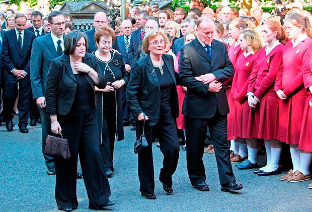 Ann Lenihan at the funeral of her son Brian Jnr in 2011, with Mary O'Rourke, Brian's aunt (second left), and Conor Lenihan (right) Picture: Colin Keegan/Collins Dublin