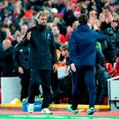 Liverpool manager Jurgen Klopp (left) and Tottenham Hotspur manager Mauricio Pochettino (right) shake hands after the match during the EFL Cup, round of 16 match at Anfield, Liverpool. PRESS ASSOCIATION Photo. Picture date: Tuesday October 25, 2016. See PA story SOCCER Liverpool. Photo credit should read: Nick Potts/PA Wire. RESTRICTIONS: EDITORIAL USE ONLY No use with unauthorised audio, video, data, fixture lists, club/league logos or