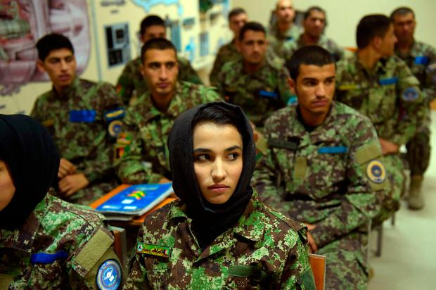 In this photograph taken on September 29, 2016, new Afghan air force pilots attend a class at the air force university in Kabul. / AFP PHOTO / SHAH MARAISHAH MARAI/AFP/Getty Images